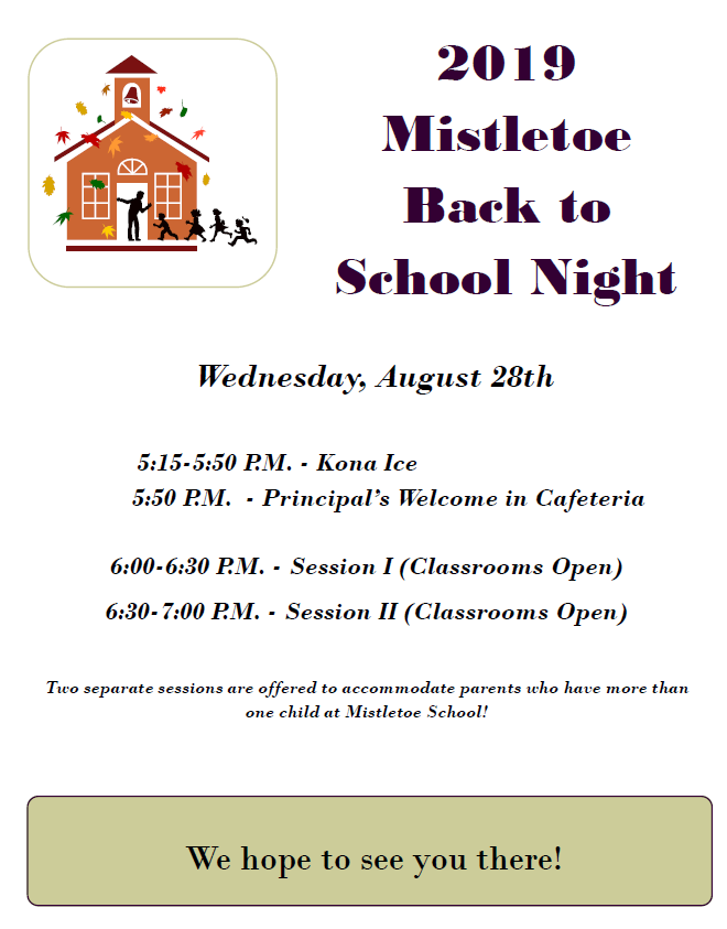 Back to School Night ~ Wednesday, August 28